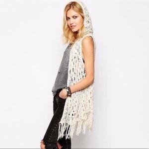 Free People Weave Away hooded crochet vest